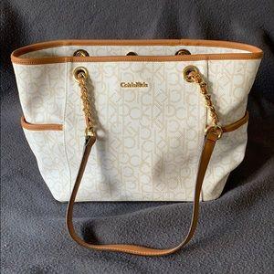White Calvin Klein tote purse